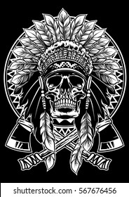 skull of native american warrior with tomahawk