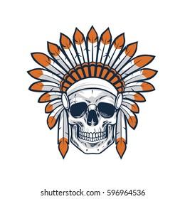 Skull of Native Indian American Warrior