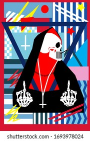 Skull nun with inverted cross and middle fingers up, abstract background