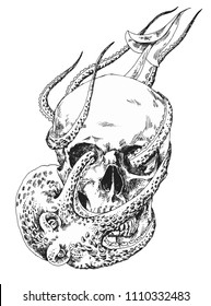 Skull with an octopus. Anatomical skull with a sea monster. Drawing by hand. Vector. Illustrator 10.