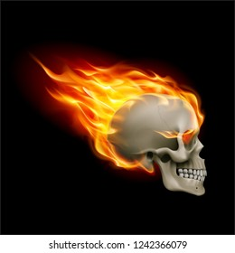 Skull on Fire with Flames. Illustration of Speeding Flaming Skull from the Side on Black