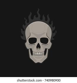 Skull On Fire Flat Vector