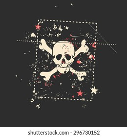 Skull on grunge background. Vector illustration.