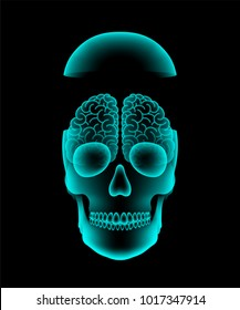 Skull open X-ray with Brain concept design, front view illustration isolated glow in the dark background, with copy space