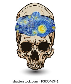 Skull with opened skullcap with inside a starry sky with glowing yellow moon isolated on white background. Vector illustration in the style of impressionist paintings.