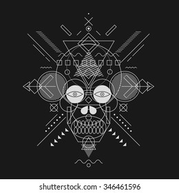 Skull painted geometric shapes, fine line.