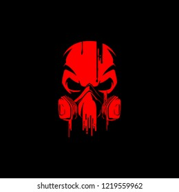 skull with painting gas mask vector logo template