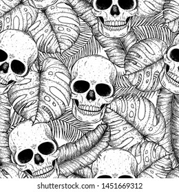 Skull and palm leaves seamless pattern. Hand drawn vector illustration. Fabric design template. Skull background. Tropical vector illustration.