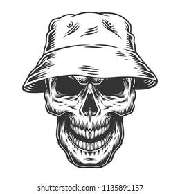 Skull in the panama hat. Vector vintage illustration