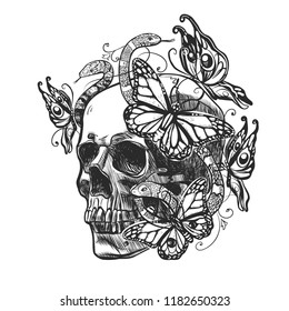Skull with patterns, butterflys and snakes. Vector illustration in grunge style for tattoo or mexico event.