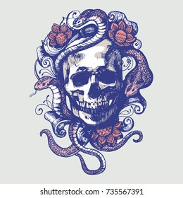 Skull with patterns, flowers and snakes. Vector illustration in grunge style