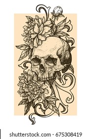 Skull with peonies or roses flowers. Hand drawn vintage vector Dotwork Illustration. Graphic sketch for tattoo, poster, clothes, t-shirt design, pins, badges, stickers and coloring book