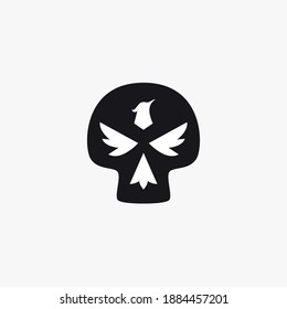 Skull with phoenix face negative space icon logo design