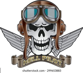 skull with pilot helmet, wings and banner with text hell pilot