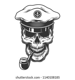 Skull with pipe in the captain hat. Vector illustration
