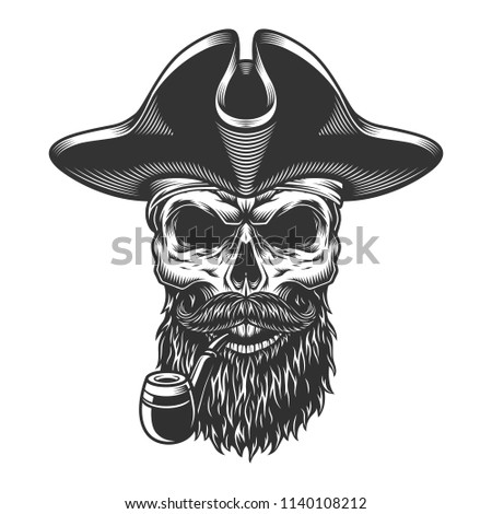 Skull With Pipe In The Pirate Hat And Beard Vector Illustration