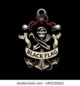 Skull Pirate and Anchor, the black flag vector illustration