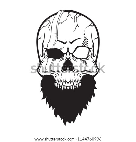 Skull Pirate With Beard Vector Illustration Isolated On White Background Line Art