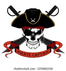 Skull of a pirate captain in a hat with swords. Color vector image on a white background.