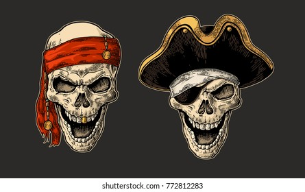 Skull in pirate with clothes eye patch, captain hat, bandana. Color vintage engraving vector illustration. For poster and tattoo biker club. Hand drawn design element isolated on dark background