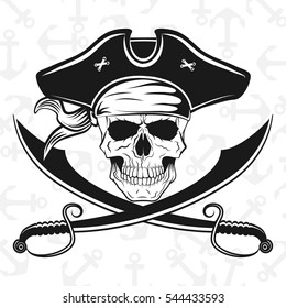 A skull in pirate hat with crossed broadswords, vector illustration