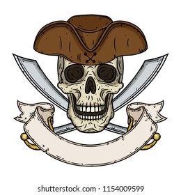 Skull. Pirate skull in a hat with crossed swords with ribbon for your text