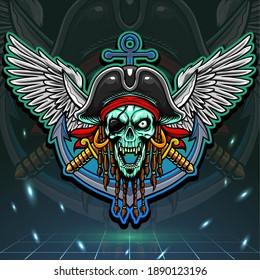 Skull pirate mascot. esport logo design
