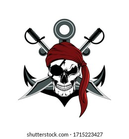 Skull of a pirate with sabers and an anchor. Vector image on a white background.