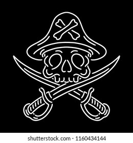 Skull Pirate Vector Black White