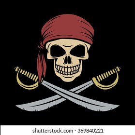Skull pirate wearing a bandana with crossed swords