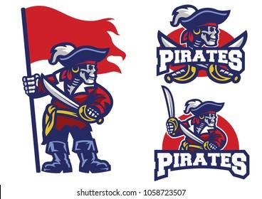 skull pirates mascot set