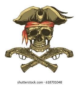 Skull and pistols. Jolly Roger logo template and t-shirt design. Vector illustration