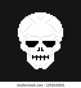 Skull pixel art. head skeleton 8 bit. Old game graphics
