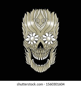 Skull Plant Horror Graphic Illustration Vector Art T-shirt Design