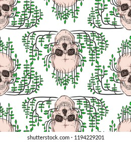 Skull and plants. Seamless pattern