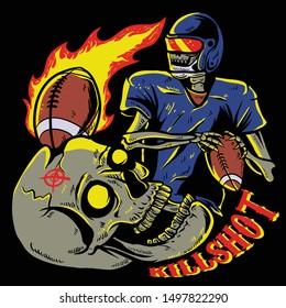 skull playing american football / skull gets hit by ball / killshot fire ball vector illustration