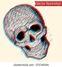 Skull point art. Vector illustration.