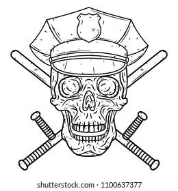 Skull in police cap and crossed police baton
