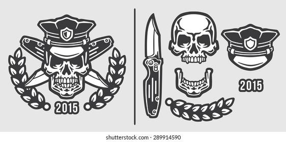 Skull Policeman Head in Cap with Crossed Knives Logo Emblem