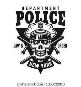 Skull of policeman, two crossed batons and text police department. Vector emblem or shirt print in monochrome style isolated on white background