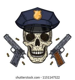 6b0bd9138f1 Skull. Policman skull. Vector illustration of human skull in police cap and  two pistols