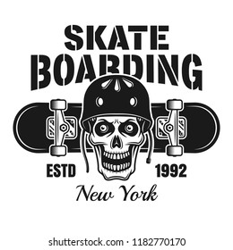 Skull in protective helmet and skateboard vector emblem in vintage monochrome style isolated on white background