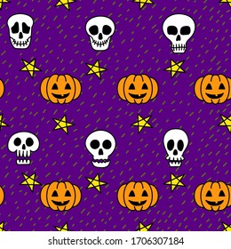 Skull and pumpkin hand drawn halloween doodle seamless pattern on violet background