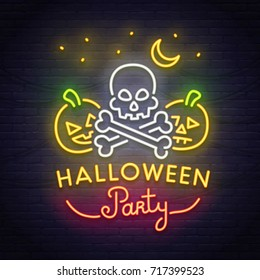Skull and pumpkin neon sign. Happy Halloween. Neon sign, bright signboard, light banner.