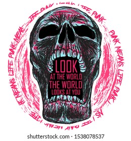 skull punk art vector skeleton head sketch t-shirt horror style print metal typography dead paint design poster textile tattoo grahic face hipster abstract helloween  graphic biker style
