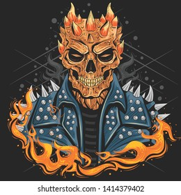 SKULL PUNK HEAD WITH JACKET, FOR BAND COVER OR BIKER LOGO, WITH FIRE , GOOD FOR ELEMENT DESIGN OR TSHIRT ARTWORK VECTOR