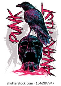skull punk with raven art vector skeleton head sketch t-shirt horror style print metal typography dead paint design poster textile tattoo grahic face hipster abstract helloween  graphic biker style