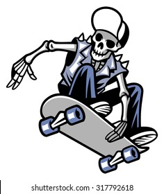 skull punk ride a skateboard