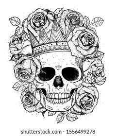 Skull of queen hand drawn illustration. Tattoo vintage print. Crown, roses and skull sketch illustration. Vector print. Crown on the skull