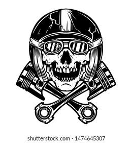 Skull in racer helmet and crossed pistons. Design element for poster, flyer, card, banner. Vector illustration